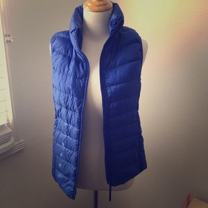 Uniqlo blue nylon down vest
